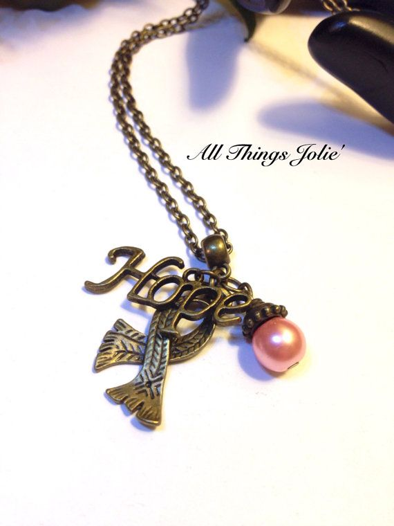 Hope Motto Breast Cancer Ribbon Bronze Pendant Pearl Necklace on Etsy, $15.99