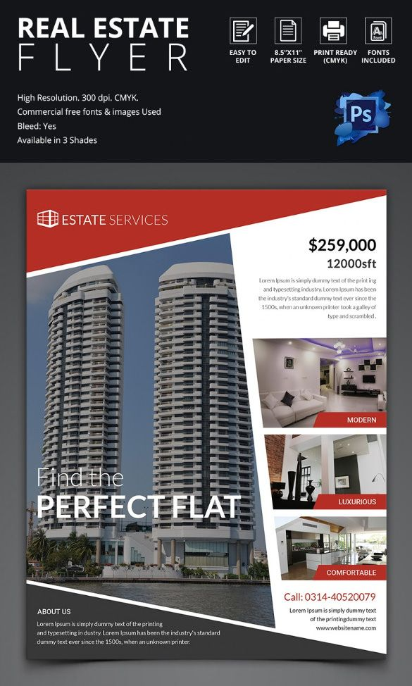 BeautifulRealEstateFlyerTemplate REAL ESTATE REF Pinterest - Real estate brochures templates free