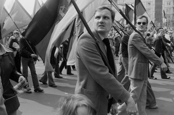 1. Mai 1980/4 by Ute Mahler -- 1 May 1980, Karl-Marx-Allee, Berlin, East Germany / Participants in the 1 May Parade
