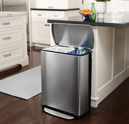 rectangular recycle bin 46 ltr kitchen storage solutions simplehuman recycling bins on kitchen organization recycling id=89352
