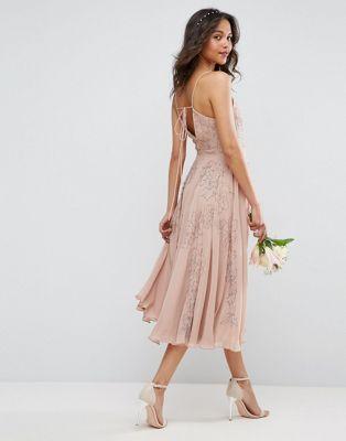 17853b50add Vestido midi estilo camisola con adornos de ASOS WEDDING Шифоновое Свадебное  Платье