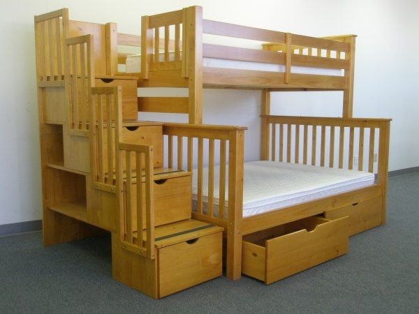 Bunk Beds Twin over Full Stairway Honey + 2 Extra Drawers