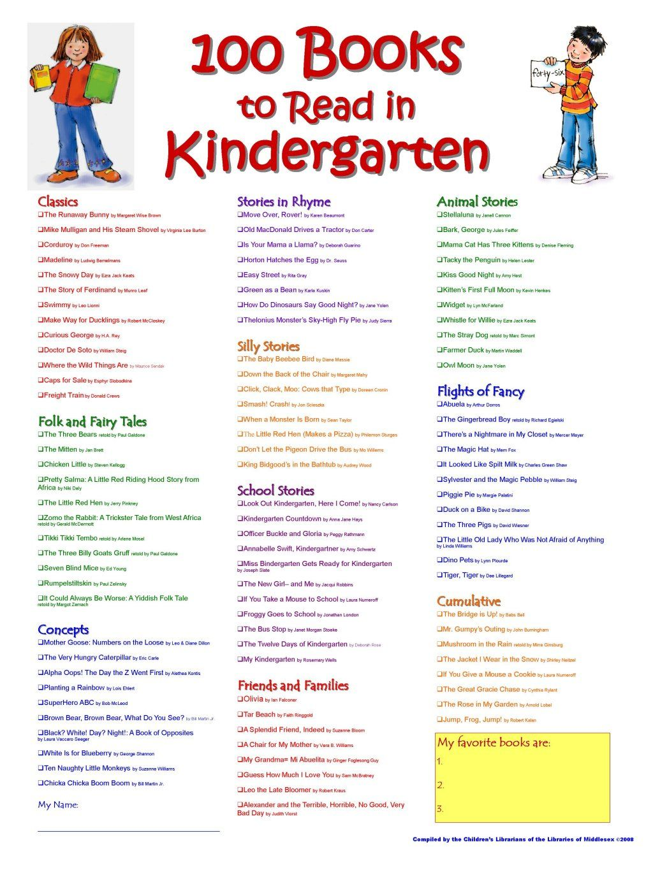 I Recently Ran Across A List Of 100 Books In Kindergarten