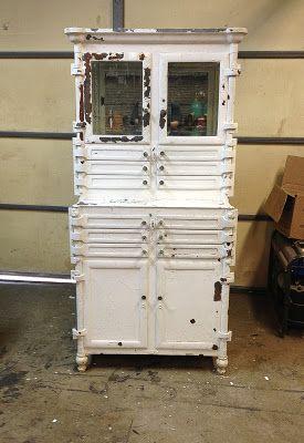 Antique Dental Cabinet Medical Cabinets Vintage Metal Furniture Board