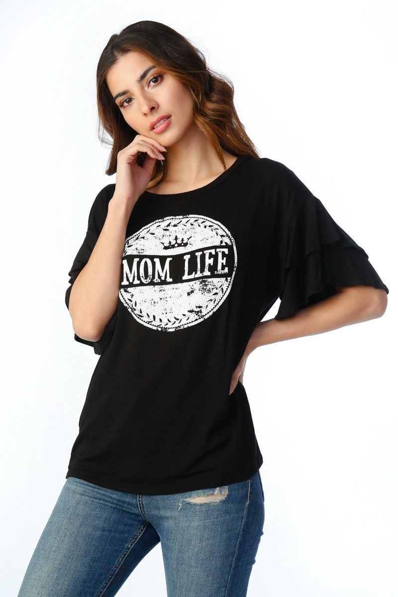 18509ea226e Timing - Juniors Short-sleeve graphic tee with Mom Life screen print and  tiered ruffle sleeves.