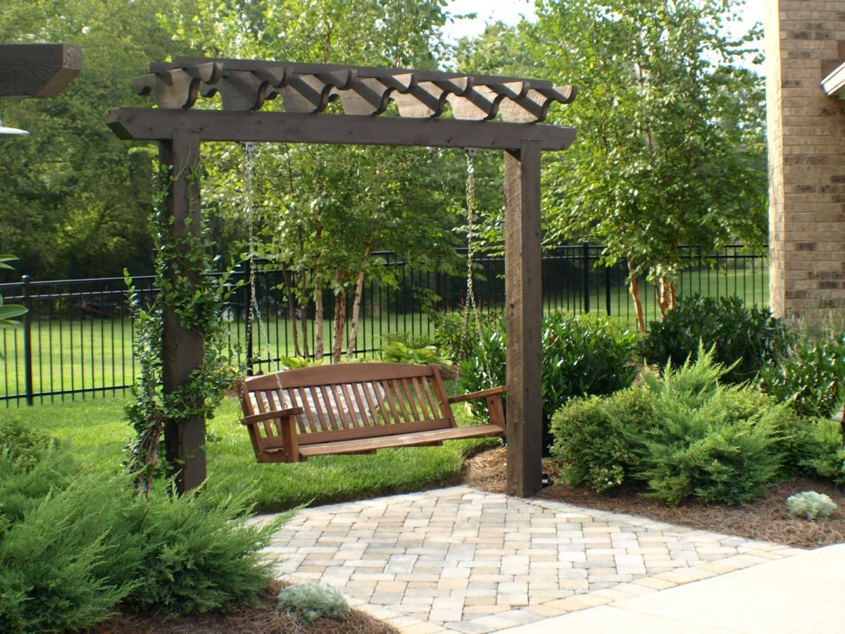 pin from www backyardlivingllc com arbor with swing outdoor