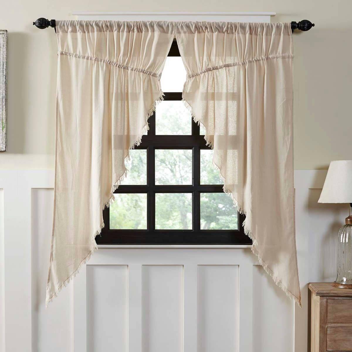 Tobacco Cloth Fringed Prairie Curtain Set 63 X 36 Country Curtains Curtains Curtain Decor