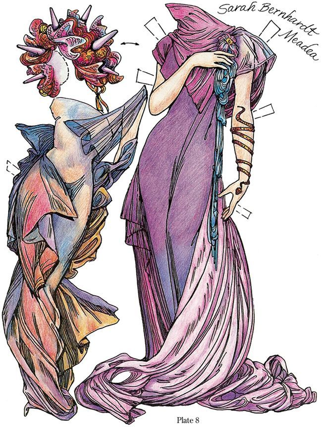 Paper Dolls In The Style Of Mucha Dover Publications Sample