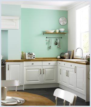 Cream Coloured Units On Dulux Mint Macaroon Kitchen Paint