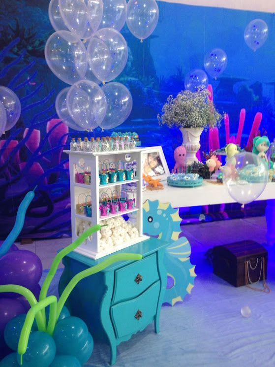 Momento Mágico Decorações Fundo Do Mar Menina Painel 3d Fiesta