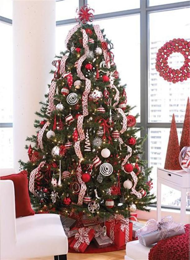 2017 Christmas Tree Decorating Home Ideas Red And