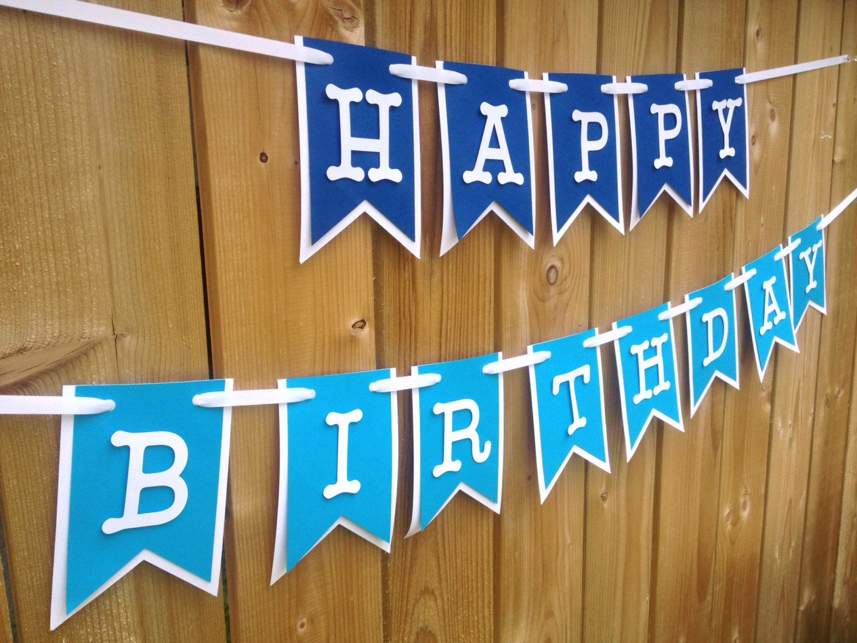 Custom blue ombre happy birthday banner Birthday Banner Happy