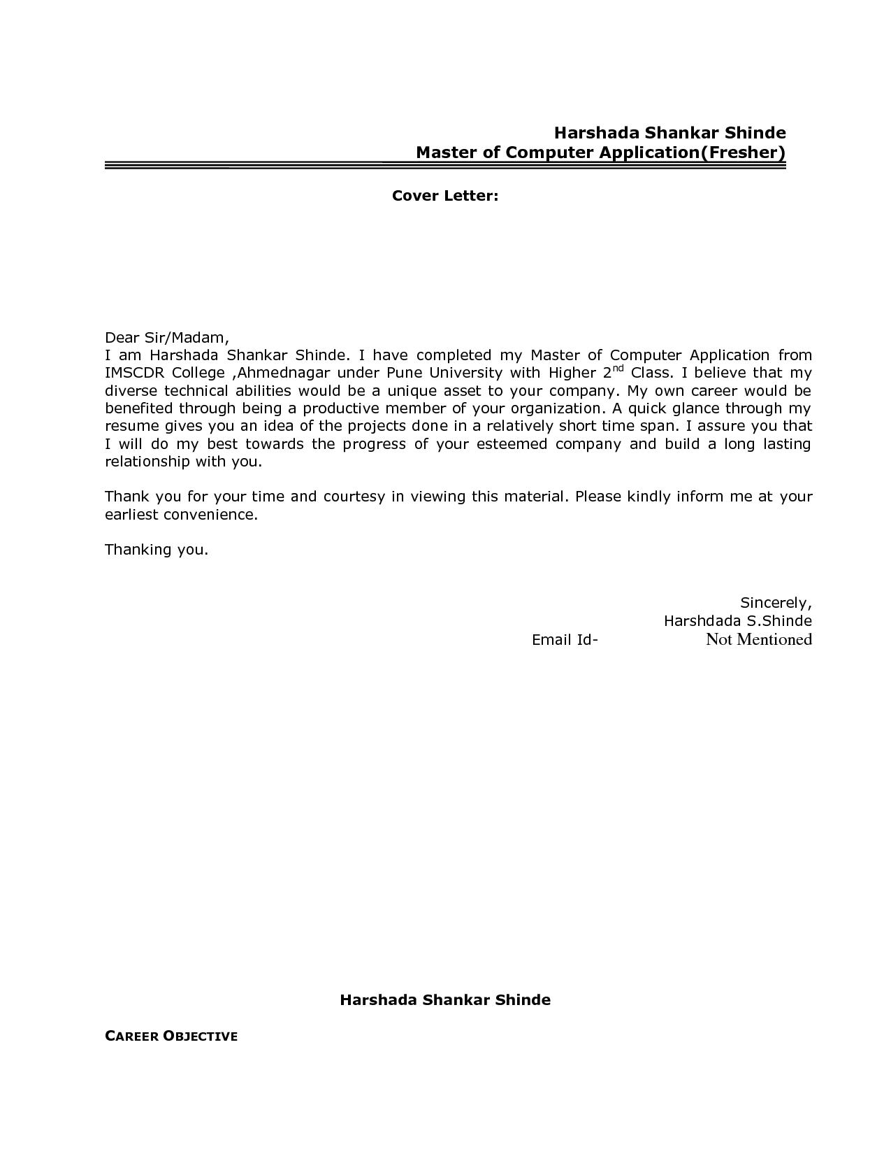 sample cover letter for resume for it freshers