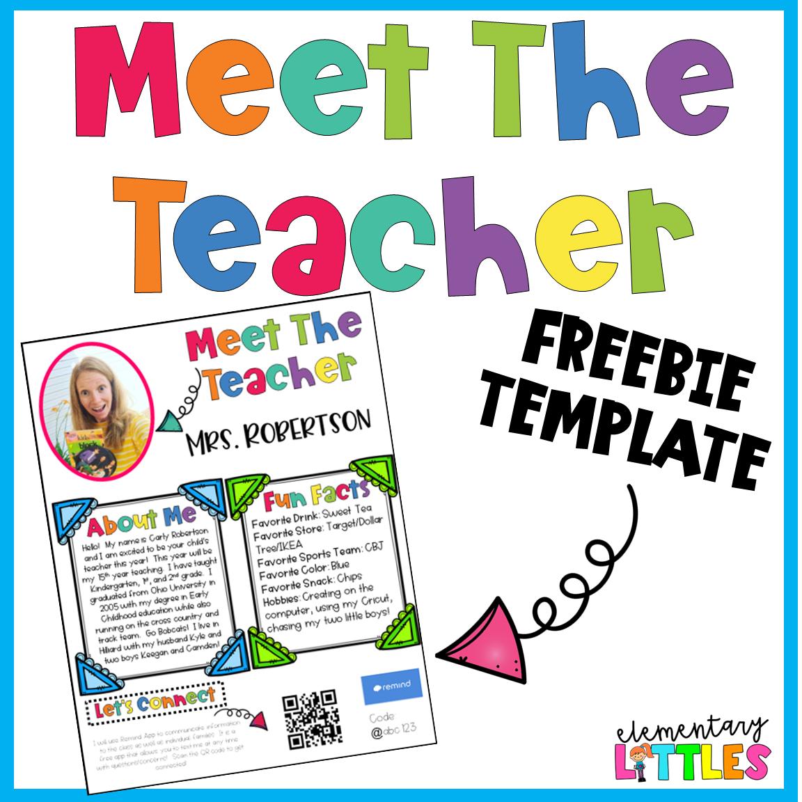 Back To School Meet The Teacher Freebie Meet The Teacher Template Meet The Teacher Teacher Templates