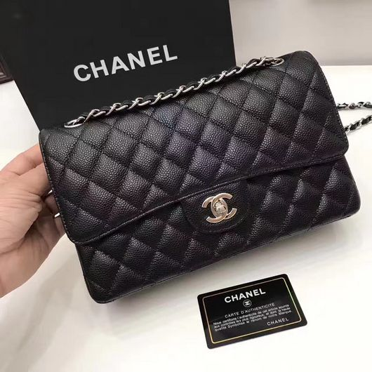 06f5a51f5ddb Wholesale Chanel 1112 Flap bag black ball Leather silver | Top Chanel 1112  bags 25.5cm