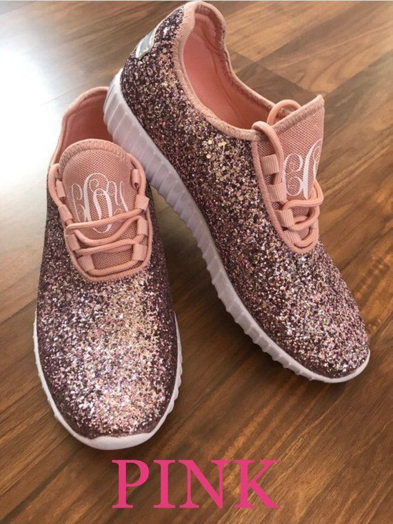a7455de74cce8 Monogrammed Glitter Sneakers // Personalized Glitter Shoes ...