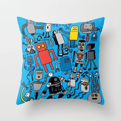 Basement -- ROBOTS! Throw Pillow by Chris Piascik - $20.00