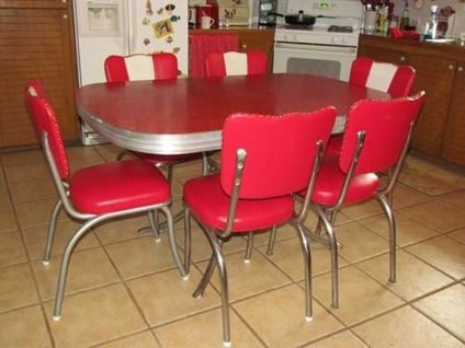 700 Retro 1950 S Red Kitchen Or Dining Room Table With 6 Chairs For Sale In Graford Texas Classifie Vintage Kitchen Table Retro Kitchen Tables Retro Kitchen
