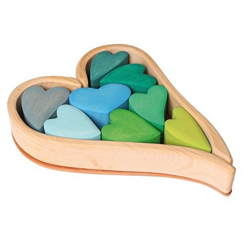 Grimm's Wooden Heart Blocks Building & Stacking Play Set, Green Hearts Grimm's Spiel and Holz Design