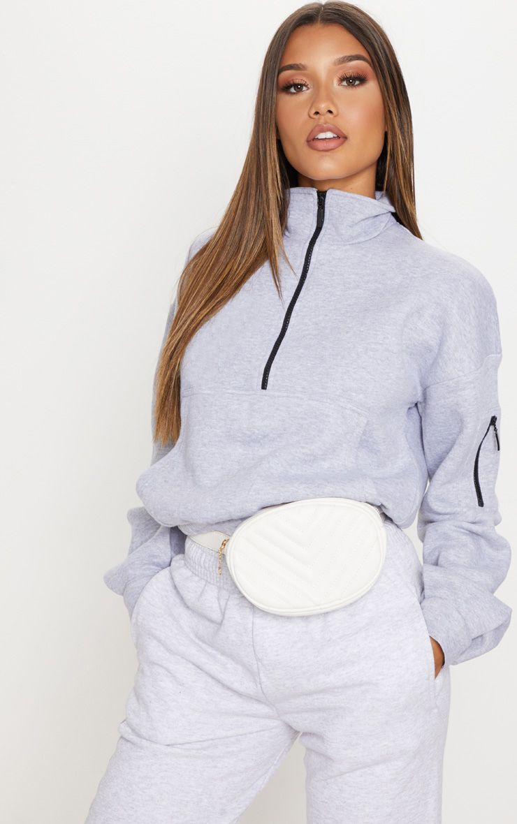 afbe7c5830152f Grey Oversized Zip Front Sweater . Shop the range of tops today at  PrettyLittleThing. Express delivery available. Order now