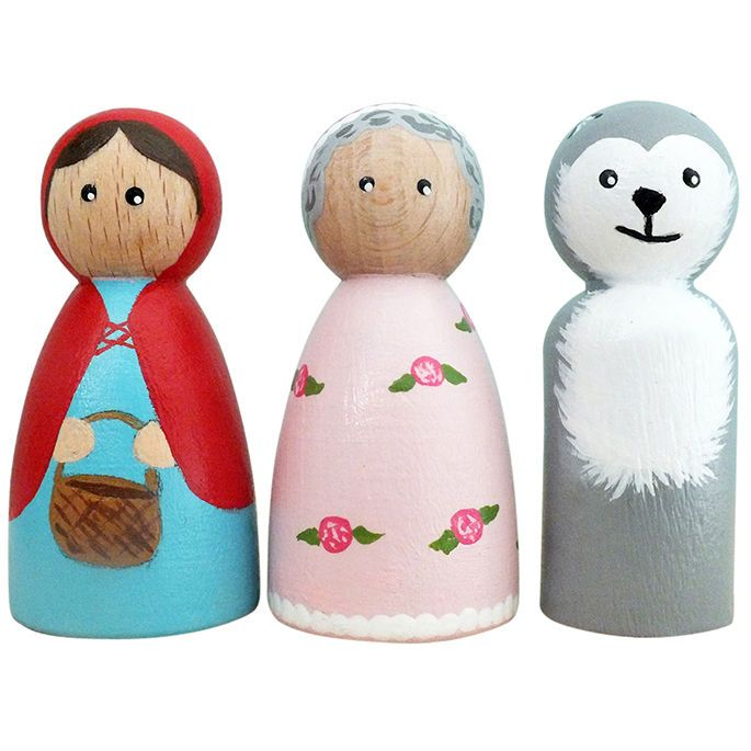 Little Red Riding Hood Trio Peg Dolls Wooden People