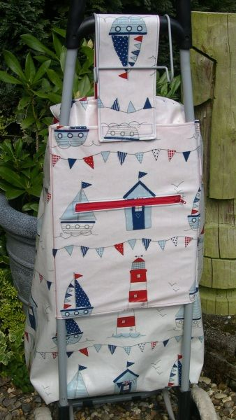 New Oilcloth Cover for Wheeled Shopping Bag - back | Shopping cart ...
