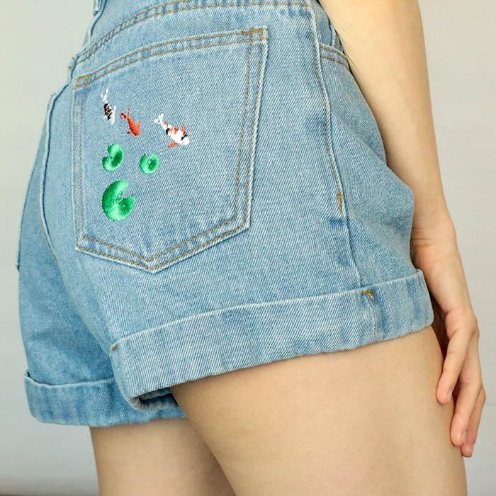 Koi Fish Embroidered Shorts