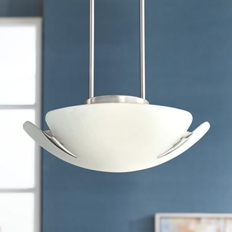 Satin nickel and frosted glass 16 1 2 wide pendant light p5500