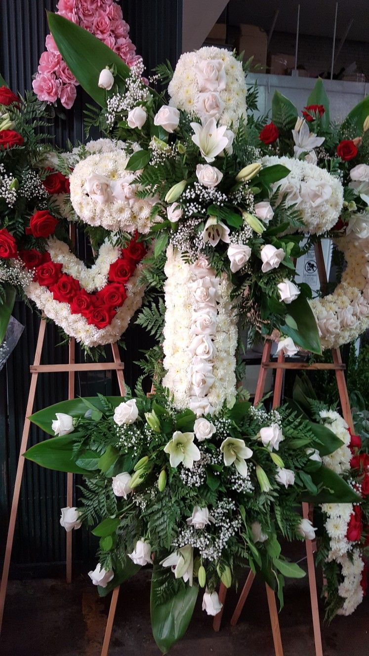 Funeral Sympathy Fresh Flower Hearts And Crosses An Affordable Diy