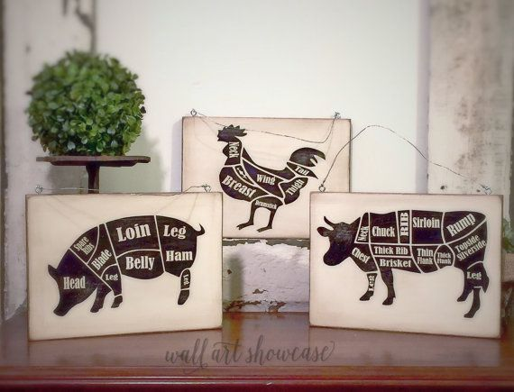 Farm Animal Painted Wood Signs Butcher Diagram Chart Sign Distressed Rustic Antiqued Sign Decor Farmhouse Decor Kitchen Wall Decor
