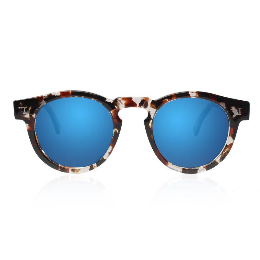 Flash Lens Sunglasses Mirror moderne Polygon Fashion Full Metal, Blue