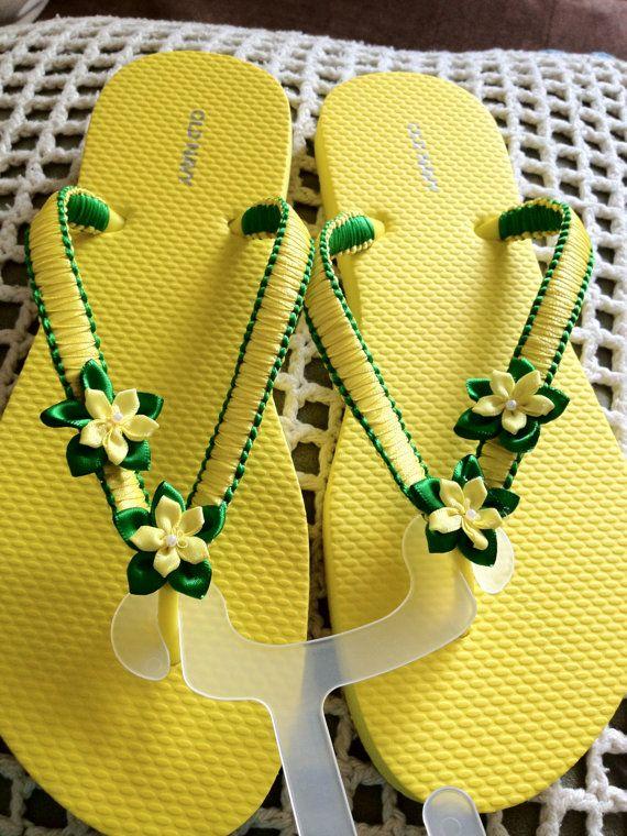 Beautiful Green And Yello Handmade Macrame Flip Flop Chinelos