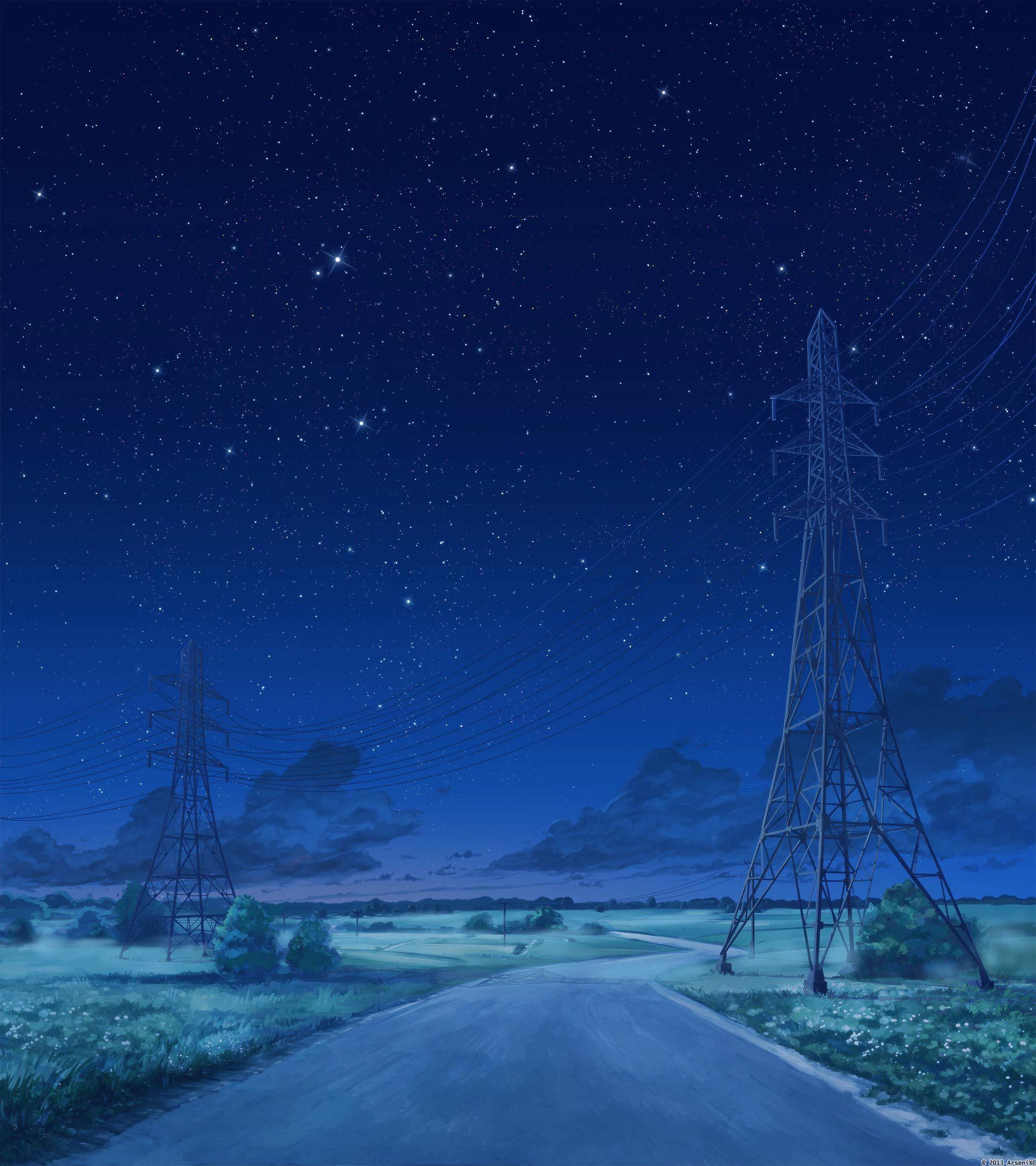Road Night Version 2 By Arsenixc Deviantart Com On Deviantart Anime Scenery Night Sky Stars Summer Landscape