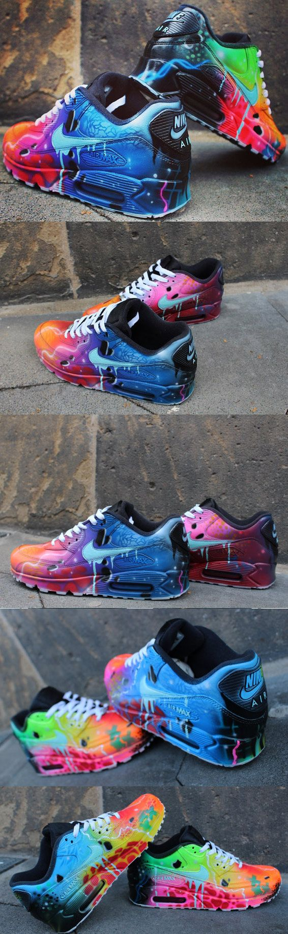 0233600efe ... coupon code for nike air max 90 blue galaxy style painted custom shoes  sneaker airbrush kicks