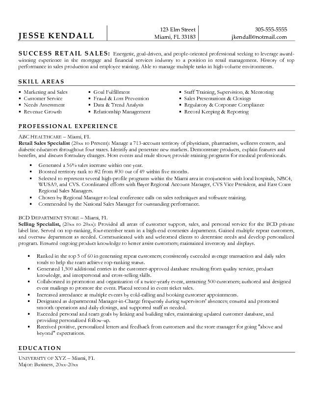 example retail sales specialist resume free sample examples - Resume Examples For Sales