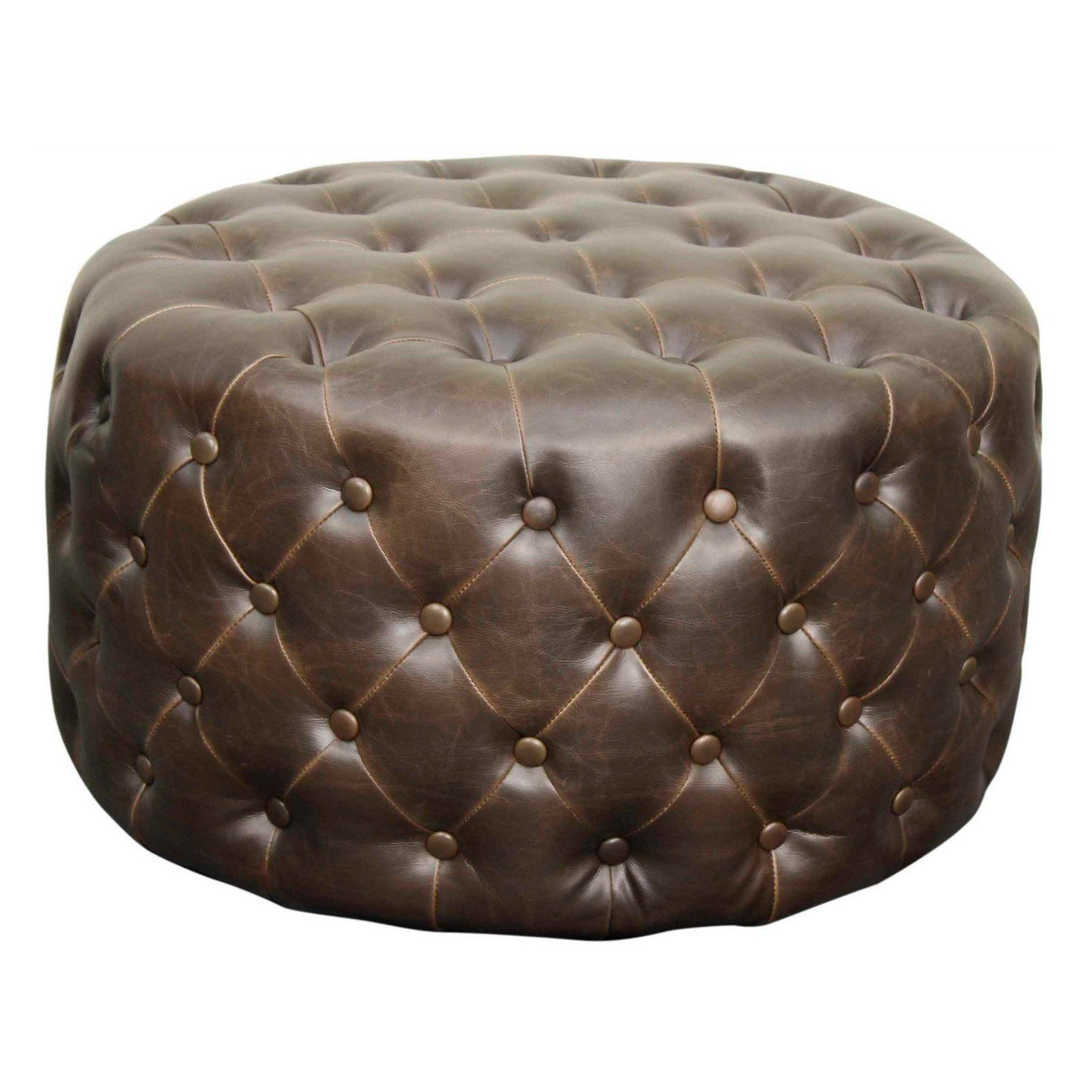New Pacific Direct Inc Lulu Leather Tufted Cocktail Ottoman