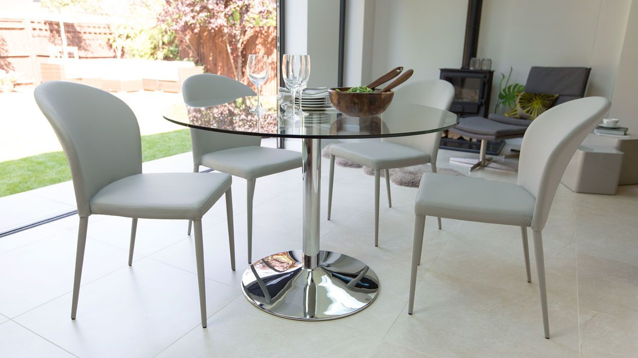 Naro Round Glass 4 Seater Table Glass Round Dining Table Glass