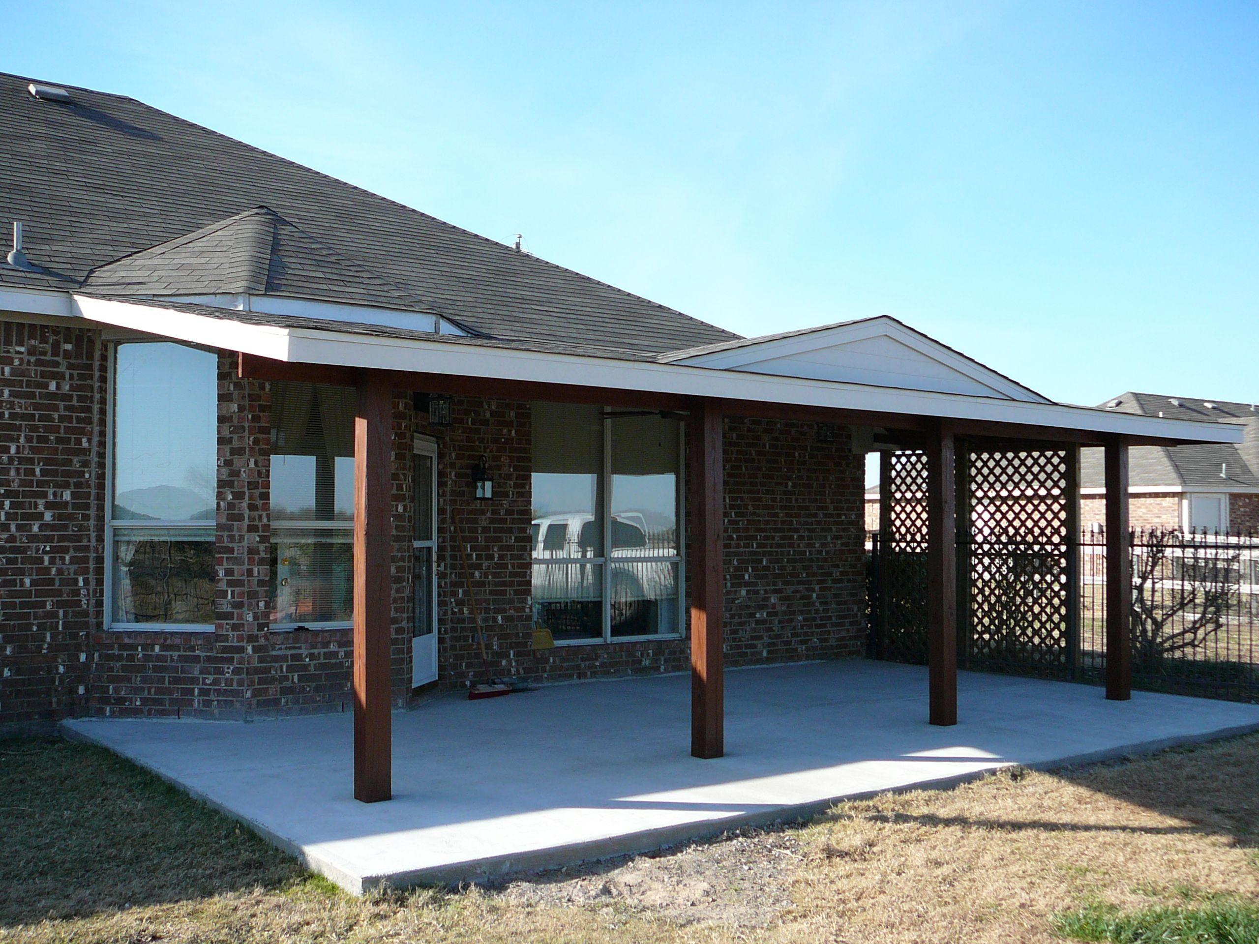 Cement Patio   Cedar Wood Patio Cover With Cedar Posts   Harper  Construction TX