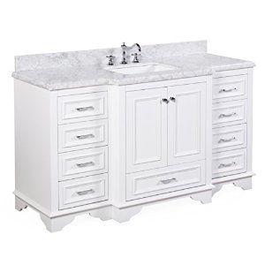 Nantucket 60 Inch Single Bathroom Vanity Carrara White Includes