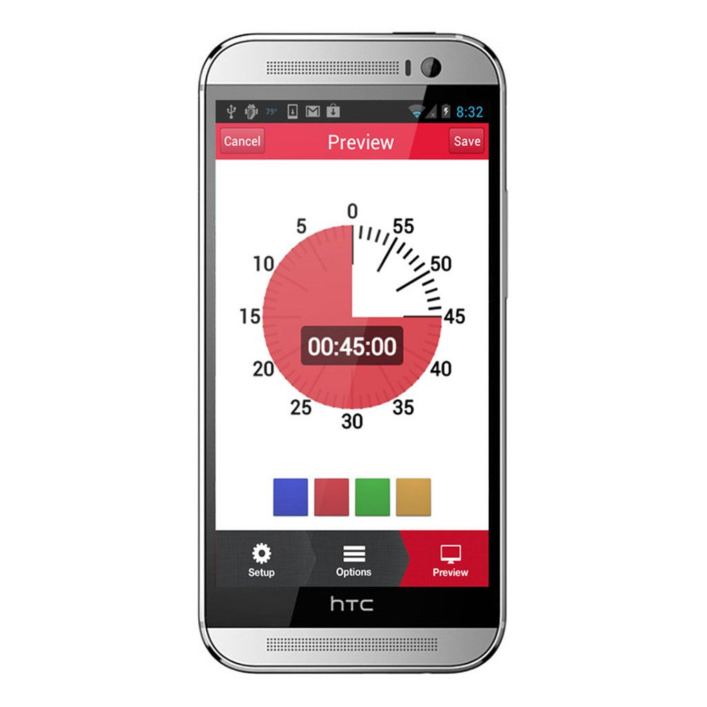 Time Timer is a customizable timer app for Android and Apple devices. -Courage Kenny Rehabilitation Institute