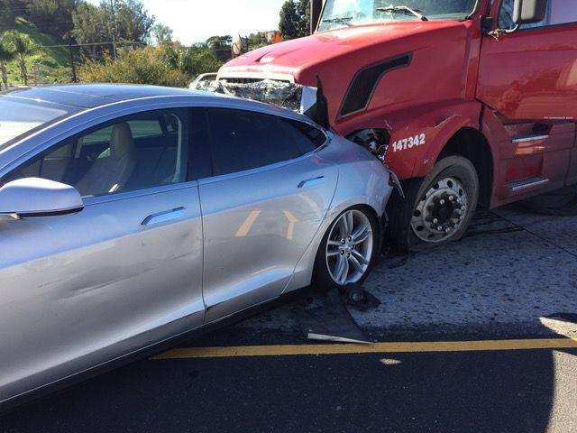 Tesla Model S Vs Tractor Trailer Collision Demonstrates How