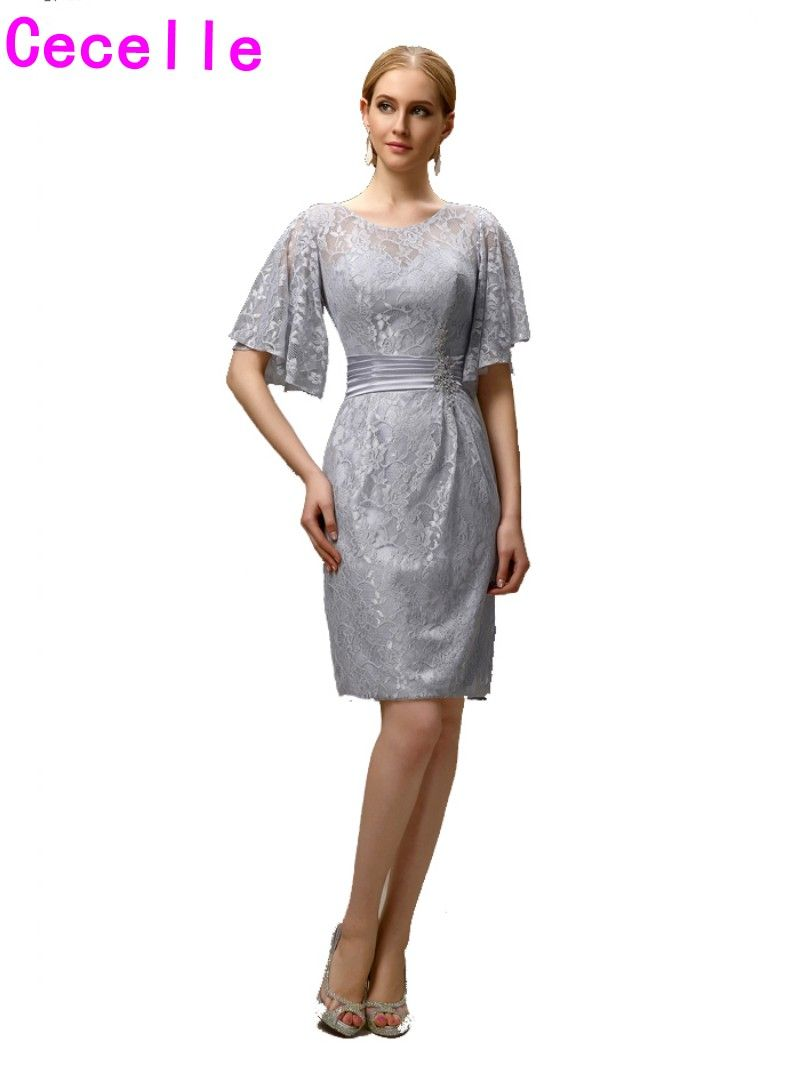 Mother of the groom dresses casual wedding  Silver Grey Short Casual Sheath Lace Mother of the Bride Groom
