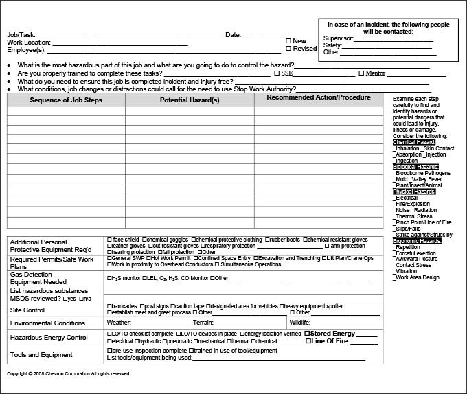 Job Hazard Analysis Template Commonpenceco Jha Template assesment