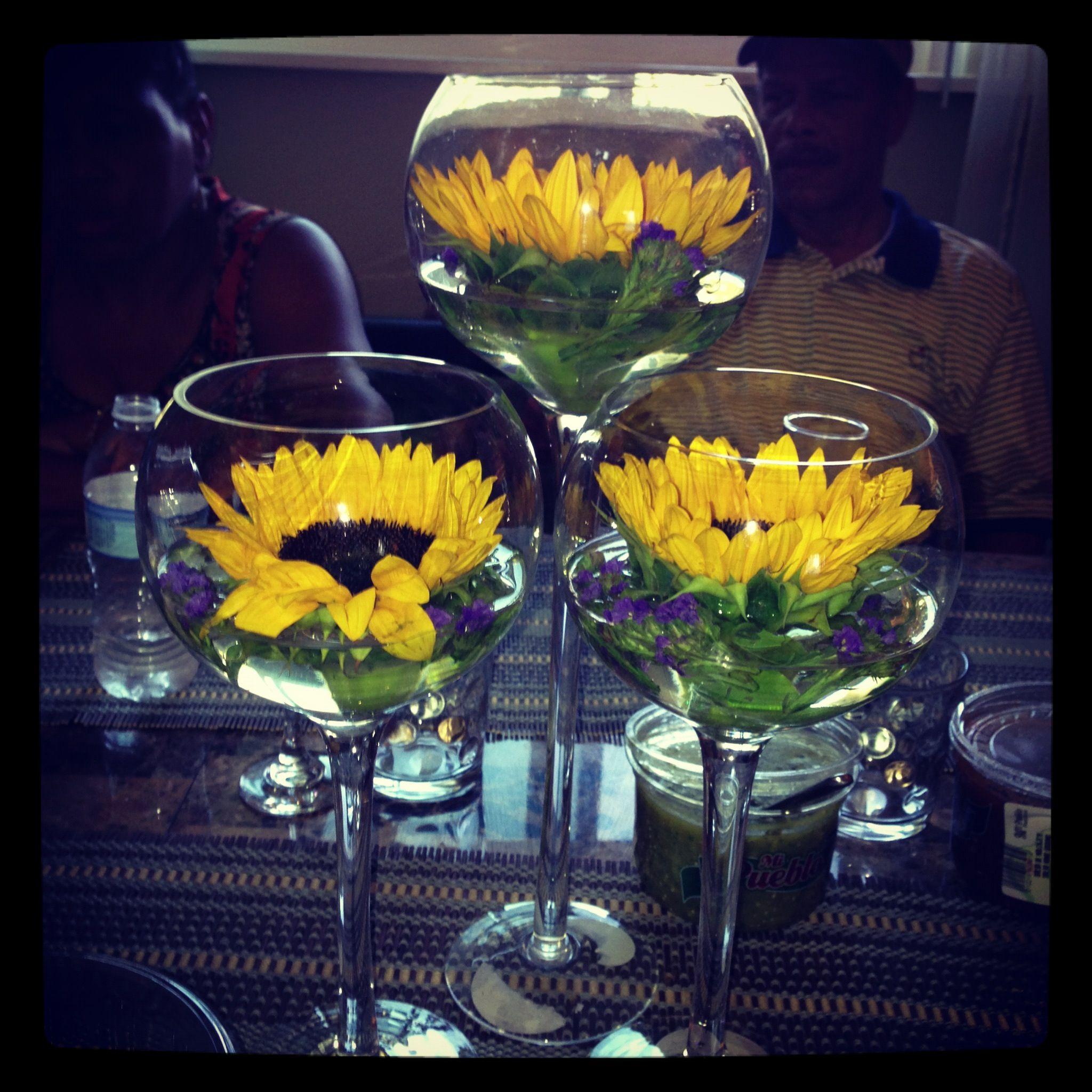 Loving my floating fresh sunflowers perfect centerpiece