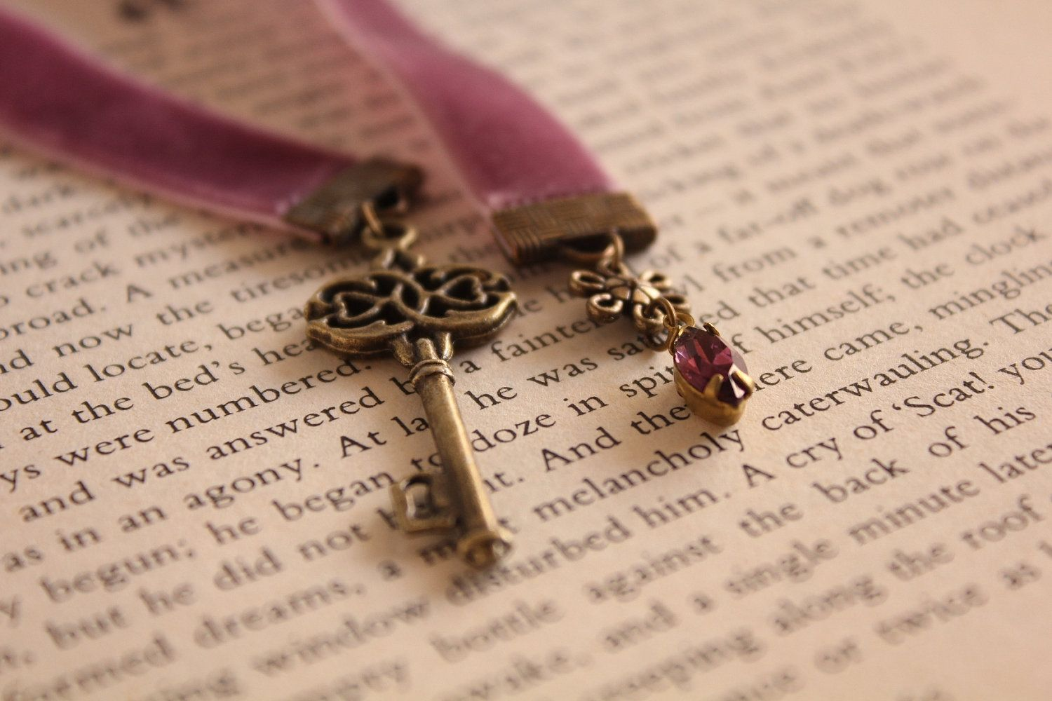 Ribbon Bookmark Book Thong - Vintage Jewel - The Old Key and The Jewel - Purple