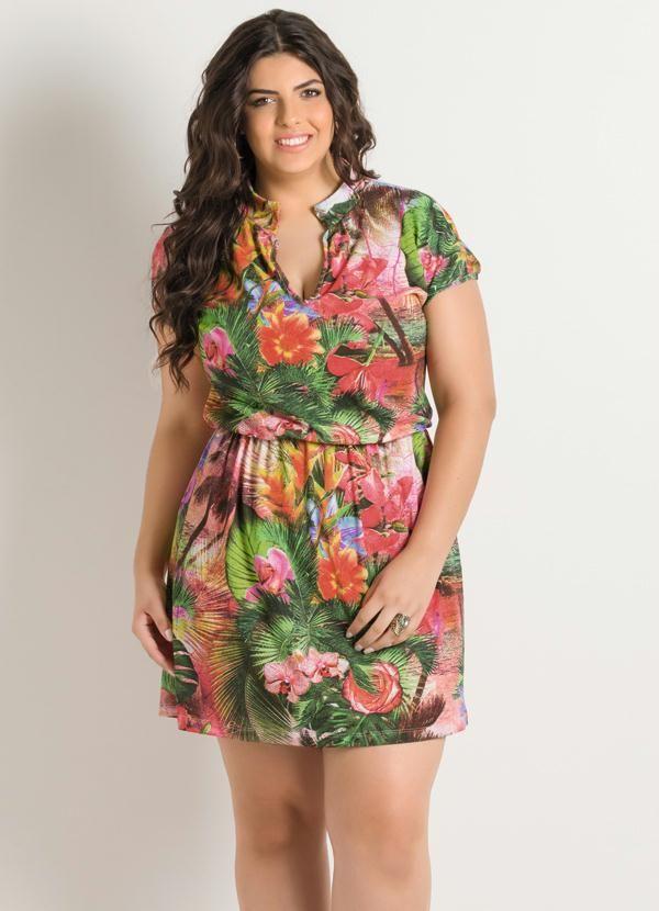7b11d18d03763b Vestido Decote V Tropical Plus Size - Posthaus   Plus Beauty ...