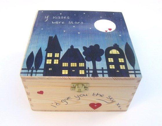 Large Valentine39s Memory Box Hand Painted Wooden Keepsake