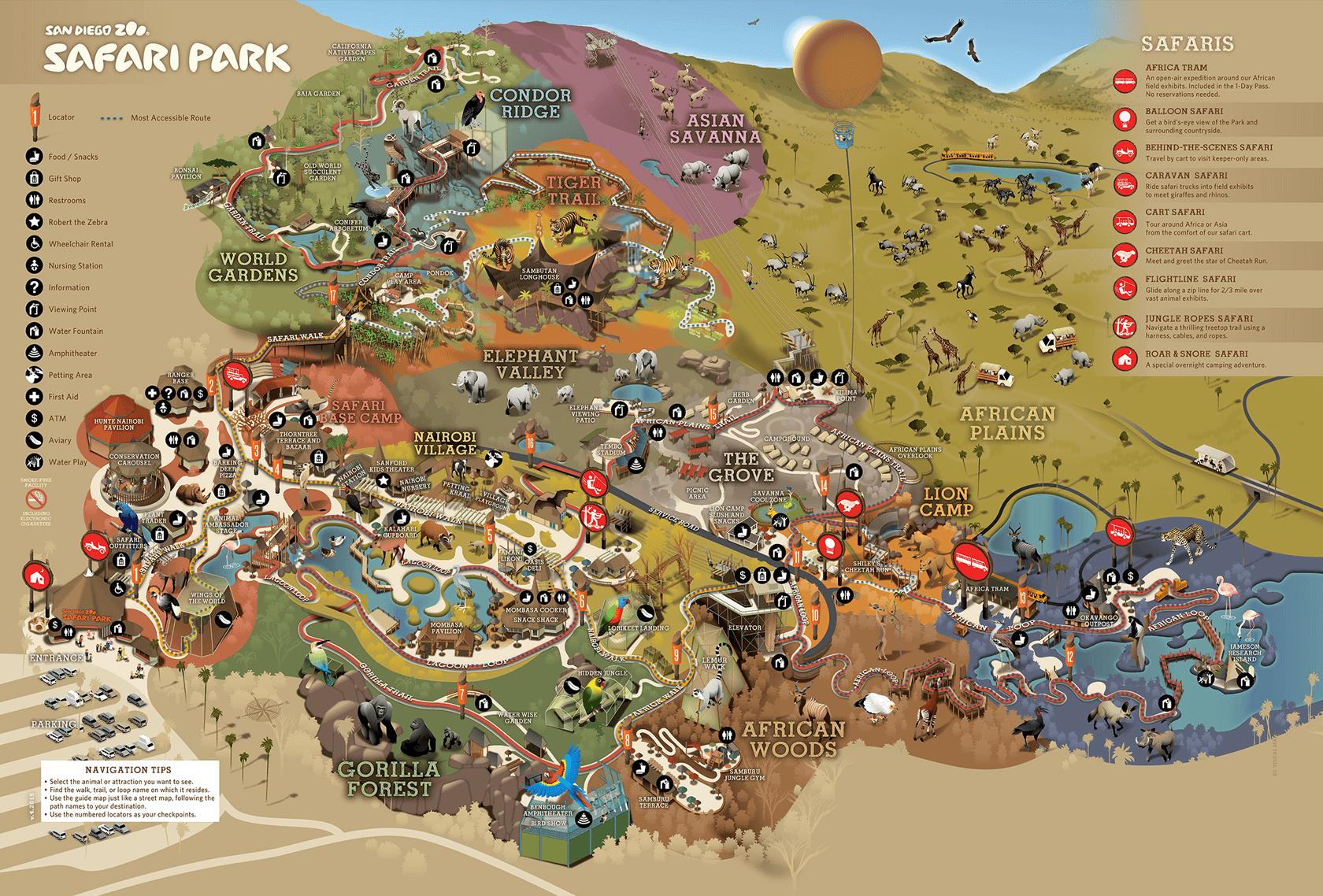 San Diego Zoo Safari Park Map Park Map | San Diego Zoo Safari Park | San Diego Maps | Park, San  San Diego Zoo Safari Park Map