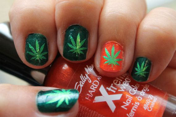 Green Metallic Pot Leaves Nail Art Ptm Symbols Pot Leaf Marijuana