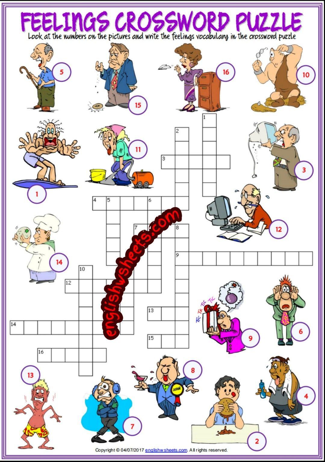 Feelings Emotions Esl Printable Crossword Puzzle Worksheets For Kids ...